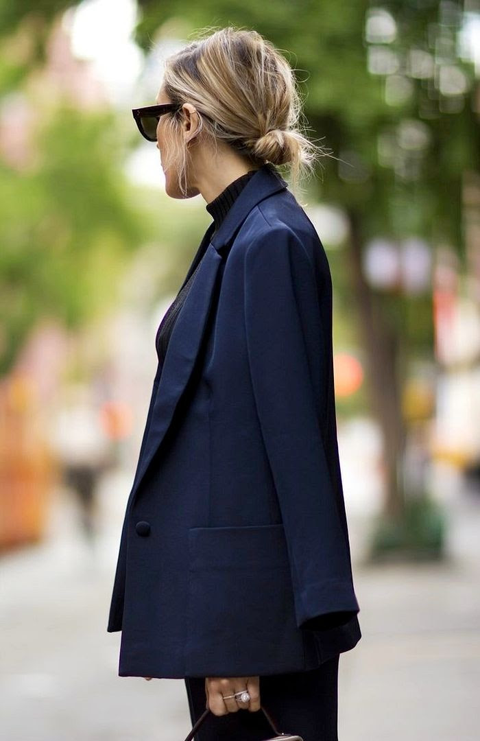 Le Fashion Blog -- Simple style with Celine sunglasses, a low bun and navy blue suit -- Angela Fink of The Fashion Sight -- photo Le-Fashion-Blog-Simple-Things-Minimal-Style-Celine-Sunglasses-Low-Bun-Navy-Blue-Suit-Via-Angela-Fink-The-Fashion-Sight.jpg