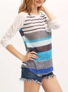 Blue Round Neck Striped Pocket Sweater