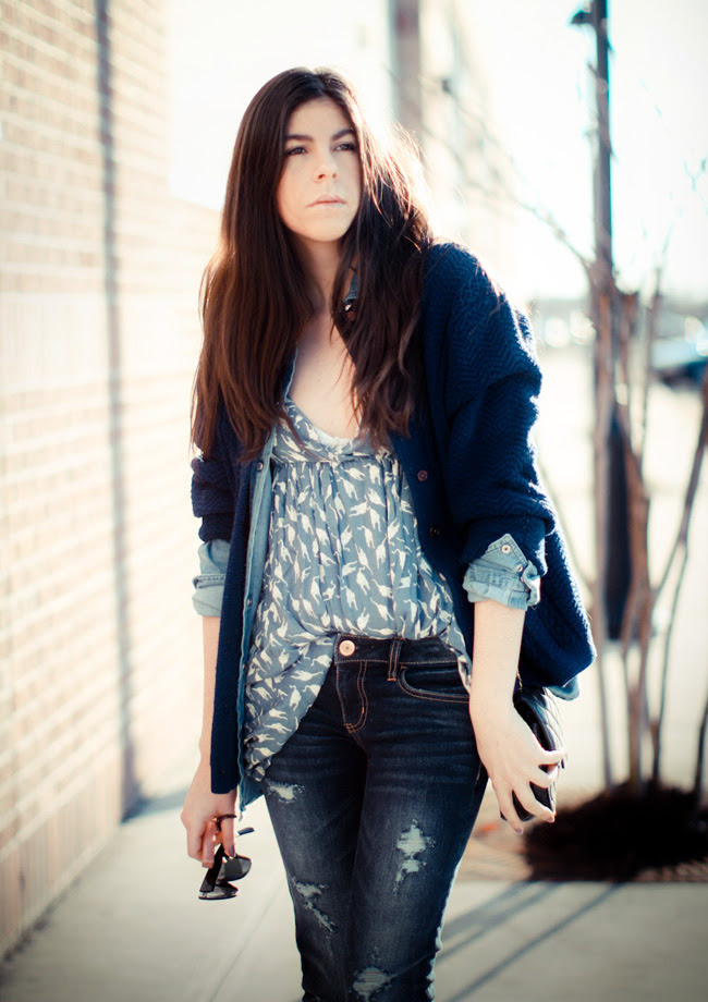 Chanel bag, American Eagle jeans, Marc Jacobs Cardigan, Miu Miu fashion