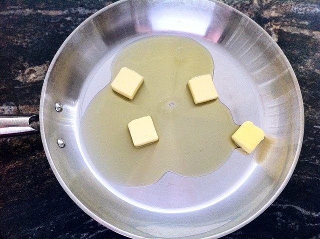 Butter and Olive Oil Combined in Large Saute Pan
