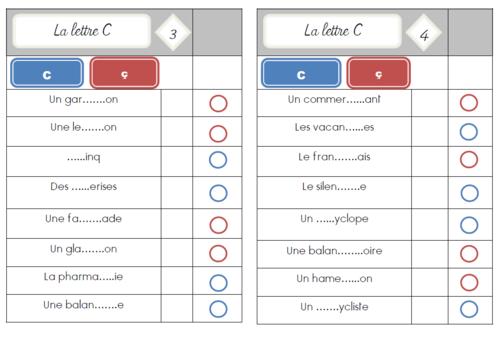 Cartes multi choix : la lettre C