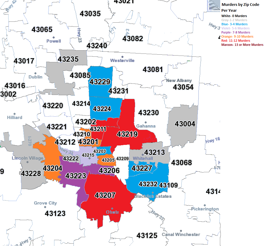 Columbus Oh Zip Code Map Columbus Ohio Zip Code Map