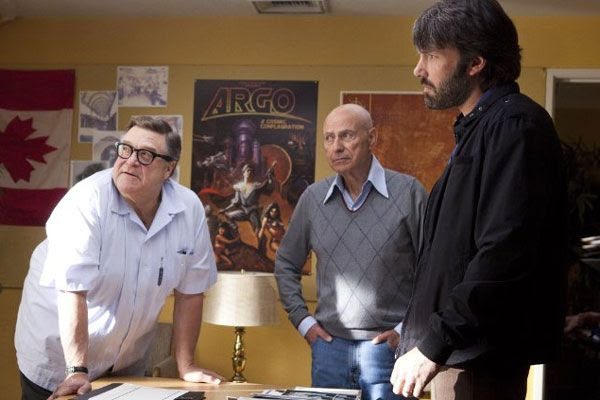 Ben Affleck, Alan Arkin (who plays Lester Siegel) and John Goodman (who portrays John Chambers) in ARGO.