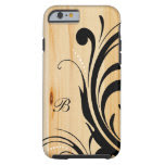 Monogram Light Wood with Black Swirls Tough iPhone 6 Case