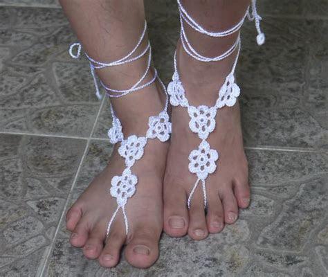 Wedding White Barefoot Sandals, Foot Jewelry, Beach Wear