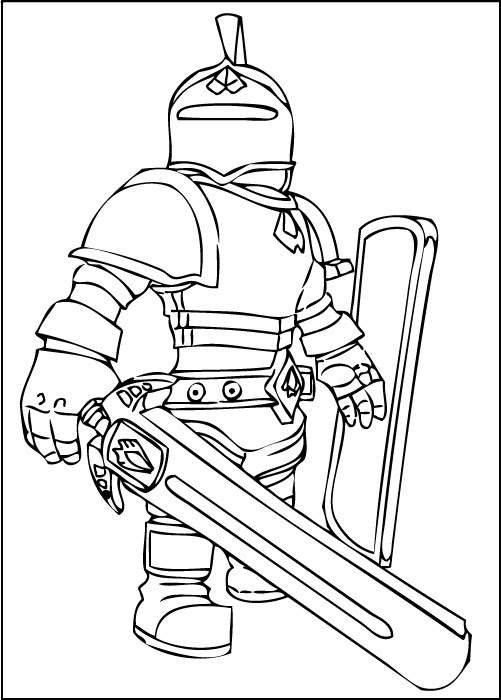 roblox knight coloring picture printable