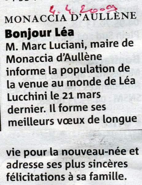 Naissance Lucchini Léa