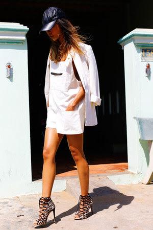 overalls THP Shop dress - THP Shop hat - Zara blazer - Zara heels