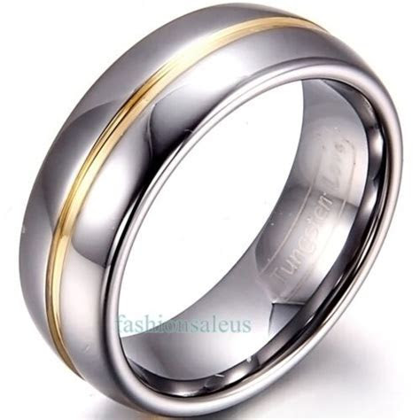 8mm/6mm Gold Groove Inset Tungsten Carbide Ring Men's