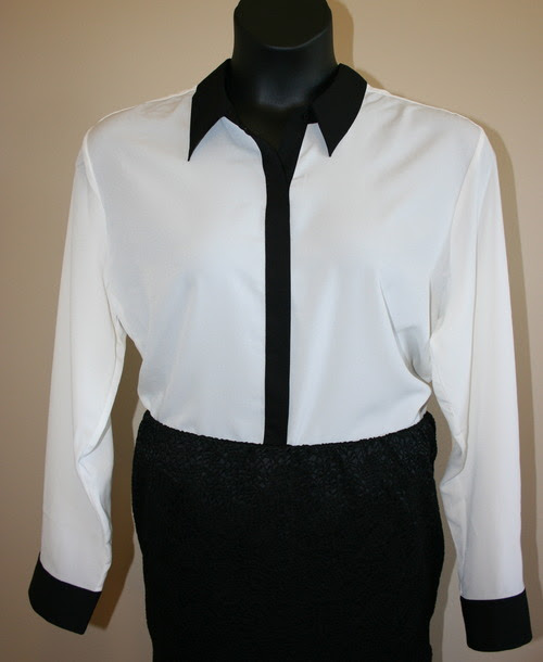 Kohl's ColorBlock Blouse button up white with black trim and Target Pencil Skirt Black Textured Mossimo