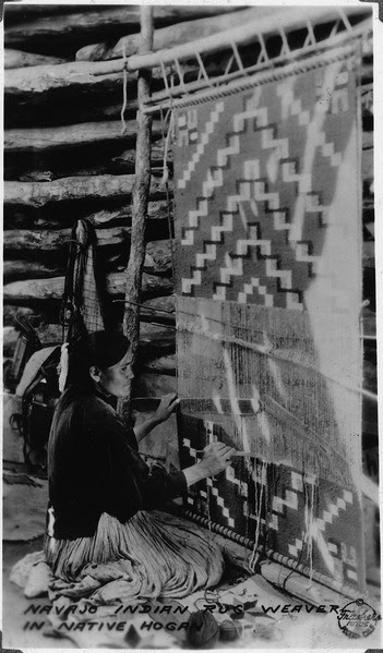 File:Navajo Indian rug weaver with partially completed rug in loom. Southern Navajo Agency, 1933 - NARA - 298601.tif