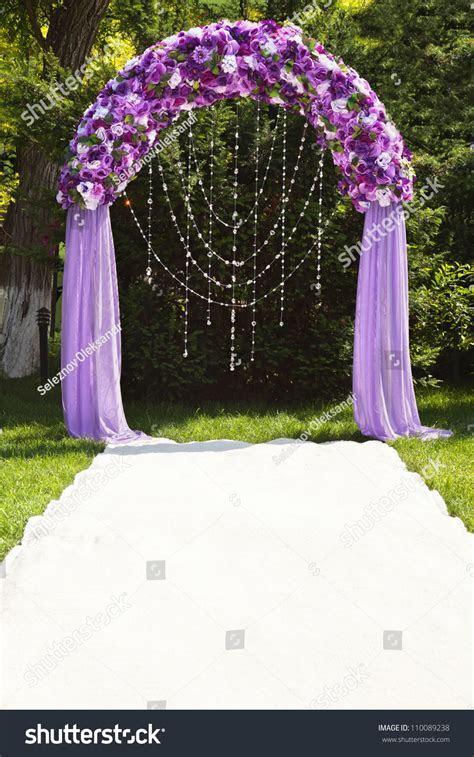 Wedding Arch Purple Roses Stock Photo 110089238   Shutterstock