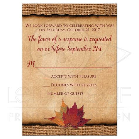 Rustic Wedding RSVP Card (Small)   Autumn Leaves, Faux