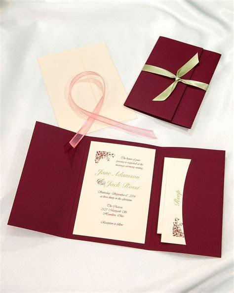 Burgundy Pocket folder wedding invitations, deep and rich