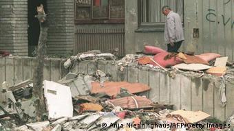 Καταστροφές στην κεντρική αγορά στο Σεράγεβο από βομβαρδισμούς το 1995