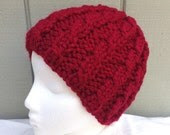 Red knitted cloche hat - Womens red hats - Chunky red beanie - Bulky knit cloche - Teens red beanie