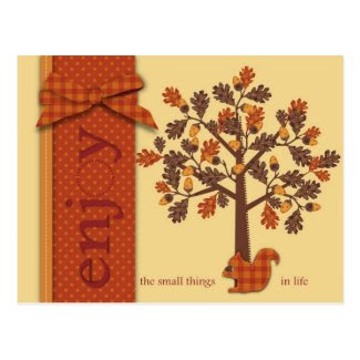 Acorn Tree with Squirrel for Thanksgiving Post Card