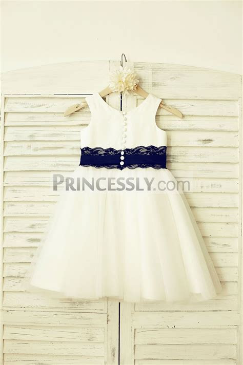 Ivory Satin Tulle Wedding Baby Girl Dress with Navy Blue