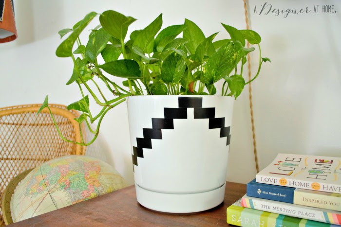 black and white electrical tape planter boho vintage decor