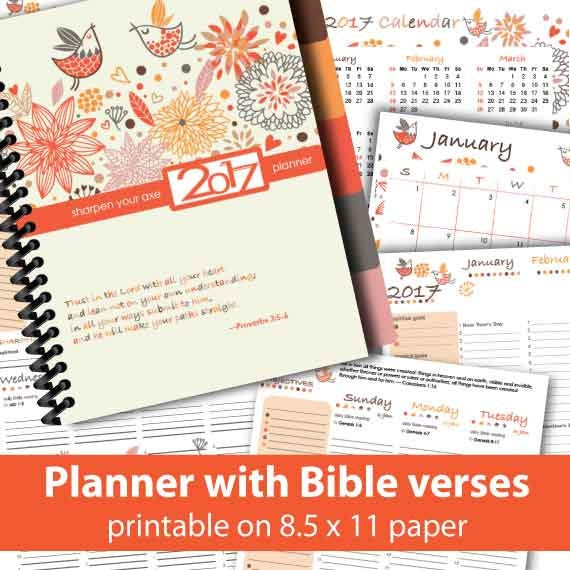 2017 printable planner with Bible verses by CreativeMissionaries