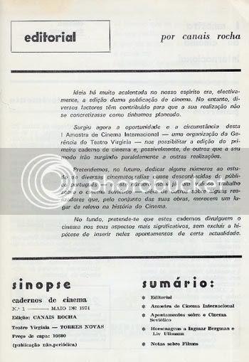 Ficha Técnica e Editorial do nº 1 de Sinopse * Image hosted by Photobucket.com