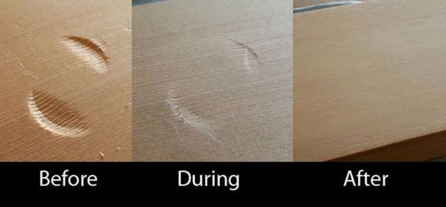 Как удалить вмятины с деревянной поверхности при помощи утюга