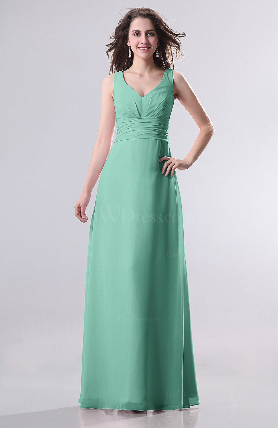 mint green simple empire sleeveless zip up ruching wedding