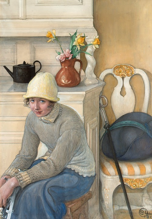 stilllifequickheart:  Carl Larsson Girl with Ice Skates, Interior from the School Household, Falun 1917