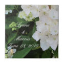 White Hydrangea Wedding Date Keepsake Tiles