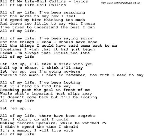 Phil Collins All Of My Life Lyrics