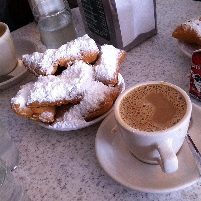 At Café du Monde. Breakfast of champions.