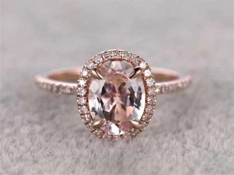 1.2 Carat Oval Morganite Engagement Ring Diamond Promise