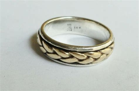 James Avery Sterling Silver 14K Gold Braid Wedding Band Sz