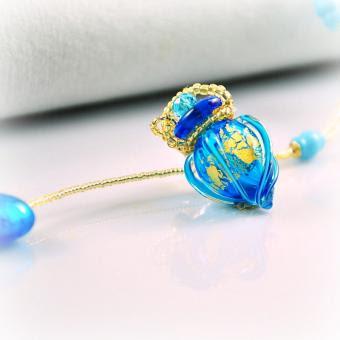 Halskette Circling Gem, matt-blau