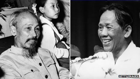 Ho Chi Minh, and Le Duan, communist era leaders of Vietnam