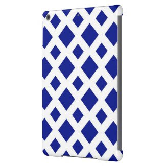 Navy Diamonds on White Case For iPad Air
