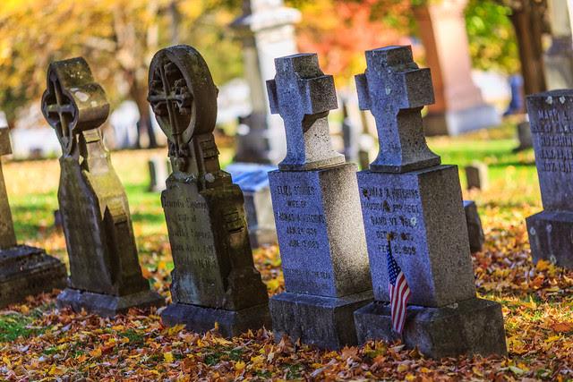 Headstones at Bennington Cemetery