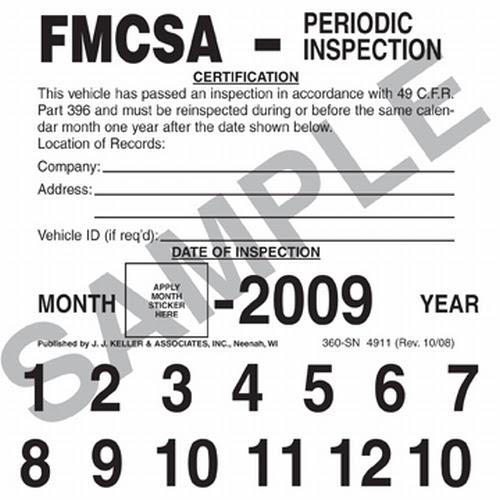 Fmcsa Annual Vehicle Inspection Label Placement Pensandpieces