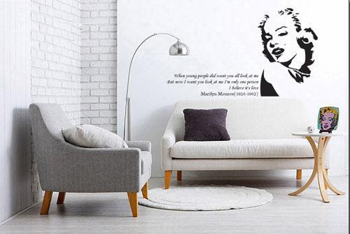 Wholesale funlife-MARILYN MONROE amp; QUOTE Mural Art Wall Decal ...