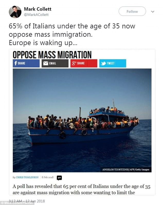 '65% of Italians under the age of 35 now oppose mass immigration,' Collett said in his June 12 tweet. 'Europe is waking up...'
