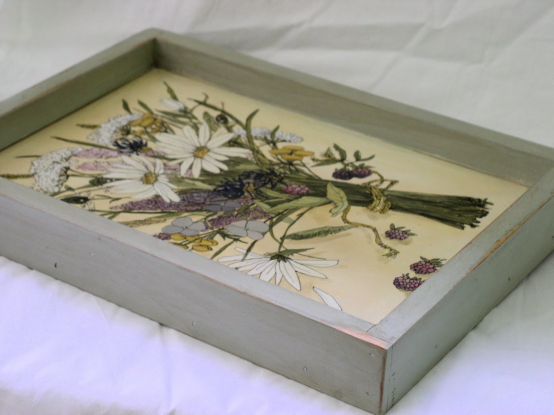 Hand Painted Sturdy Country Cottage Shabby Chic Wood Tray