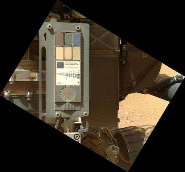 A MAHLI image of its calibration target on the Curiosity rover, taken on September 9, 2012.
