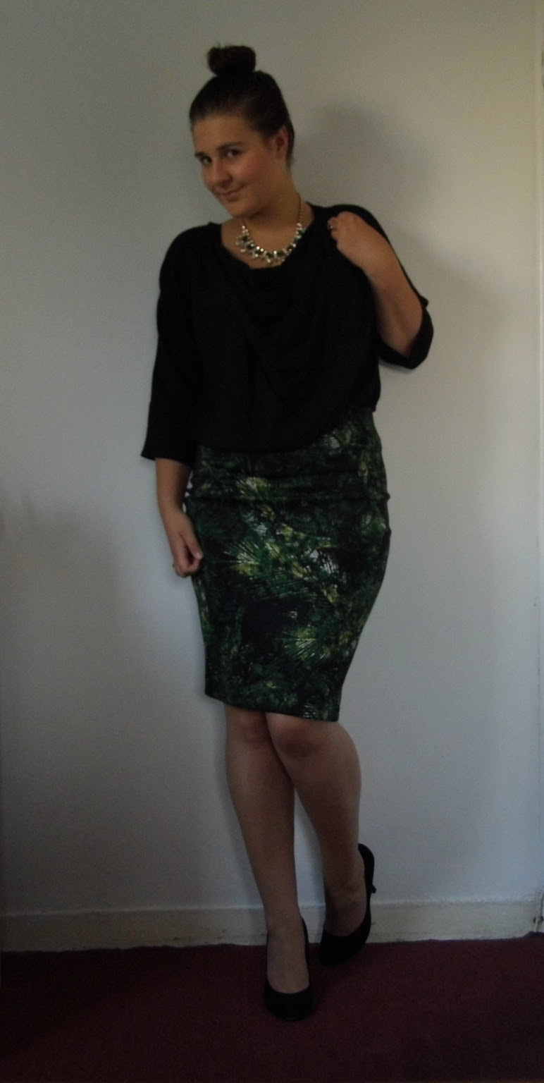 Palm Print Skirt & French Connection Blouse 1