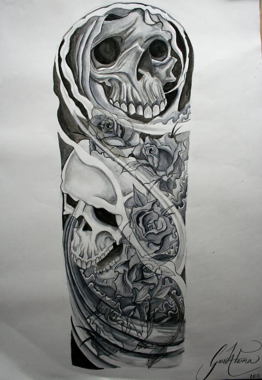 Biomechanical Skulls Sleeve Tattoo Design