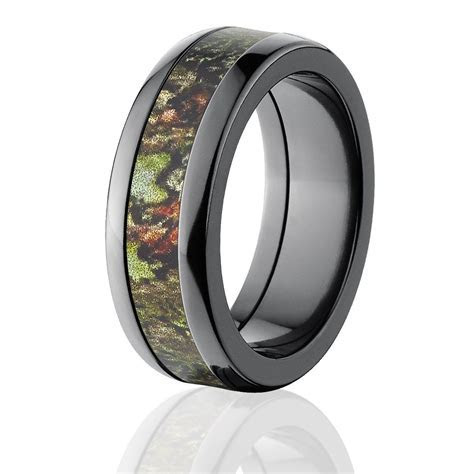 Black Mossy Oak Camouflage Rings, Camo Wedding Bands