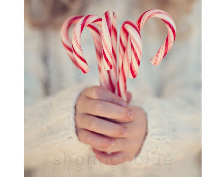 christmas candy cane photograph / holiday, hands, peppermint, stripes, child, winter, red, white / candy cane girl / 8x8 fine art photo