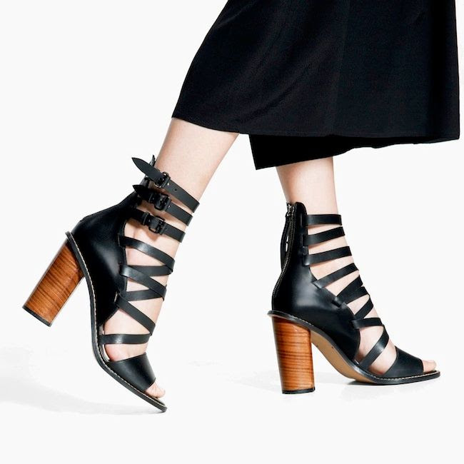Le Fashion Blog Summer Style Mango Black Leather Gladiator Sandals With Wooden Heel Culottes Under 200