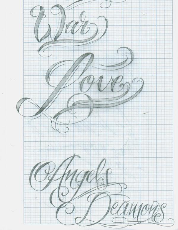 Tattoo Script Lettering 12 by ~12KathyLees12 on deviantART