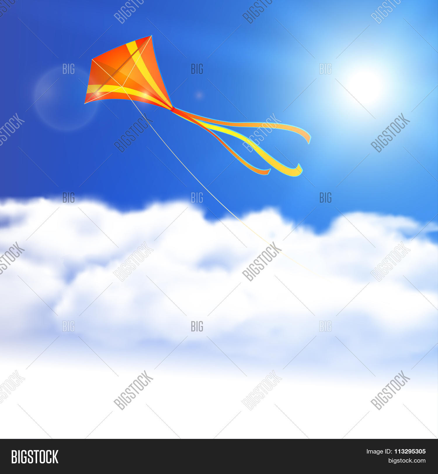 Kite In The Sky. Vector Illustration, Eps10, Editable. Stock ...