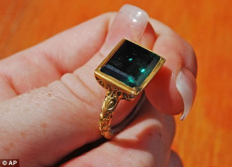 Treasure: The ancient gold ring with a rectangular cut emerald is believed to come from the Spanish galleon Nuestra Senora de Atocha